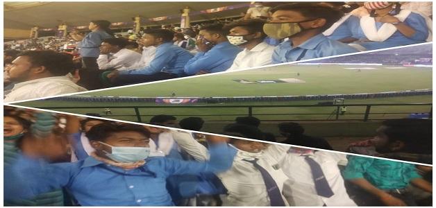 राष्ट्रपति के दत्तक पुत्र कमार जाति के छात्र-छात्राओं ने क्रिकेट स्टेडियम पहुँच मैच का लिया आनंद